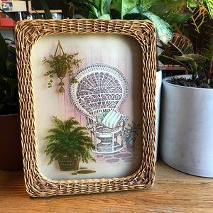 Vintage Wicker Chair Fern Art Photo